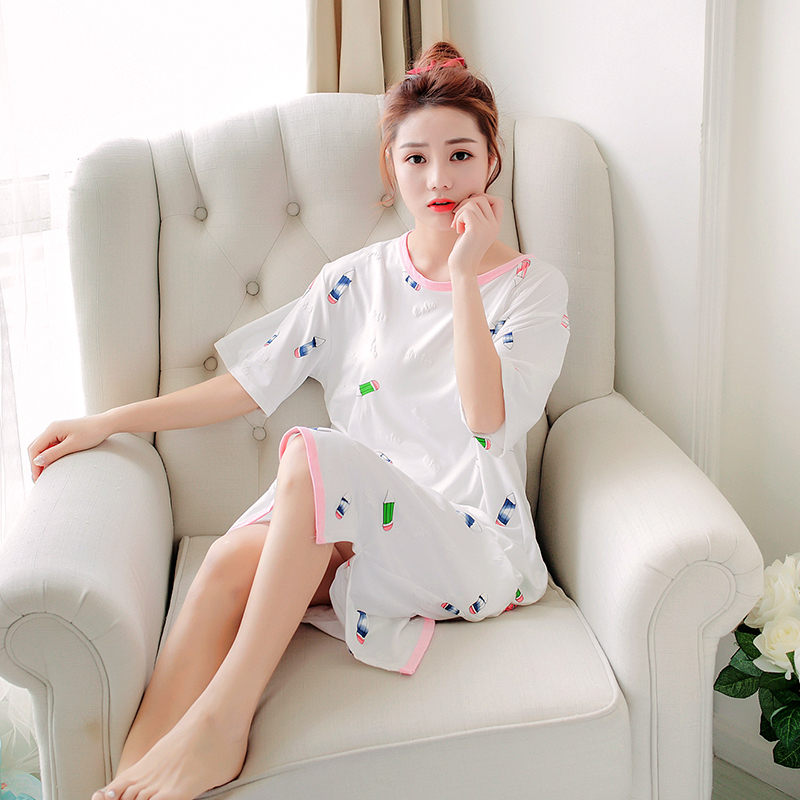 Pregnant Woman Night Skirt Confinement Serve Summer Postpartum Long Sleeve Go Out Nurse Dress Xia Shishang Lactation Night Skirt