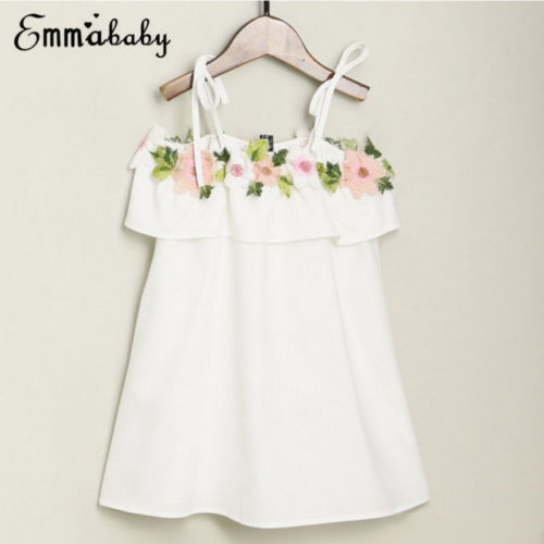 2018 Cute Mother and Daughter Summer Casual Embroidery Floral Strap Off Shoulder Maxi Dress Mommy&Me Family Matching Outfits 2