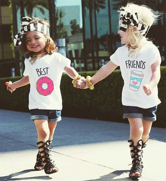 <font><b>Best</b></font> Donuts and <font><b>Friends</b></font> Coffee <font><b>Best</b></font> <font><b>Friend</b></font> Family Matching Outfits Brother Sisters Clothes Look Tshirt <font><b>Friends</b></font> Baby <font><b>Kid</b></font> Clothing image