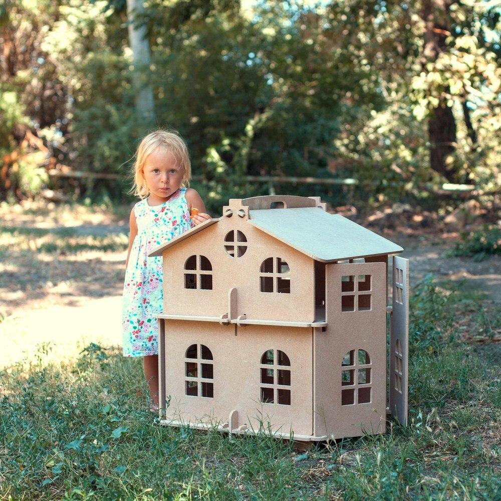 Maison de poupée montre maison garçon fille poupées maison de poupée meilleur cadeau jouet maison en bois poupée accessoire bloc partie puzzle action 000-310