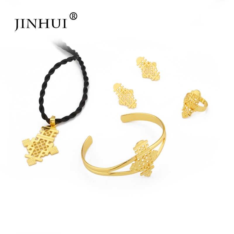 Jin Hui 2019 Neue Äthiopischen schmuck sets Anhänger Halskette Ohrring Ring Gold geschenke für frauen Afrikanische Eritrea schmuck hochzeit geschenke