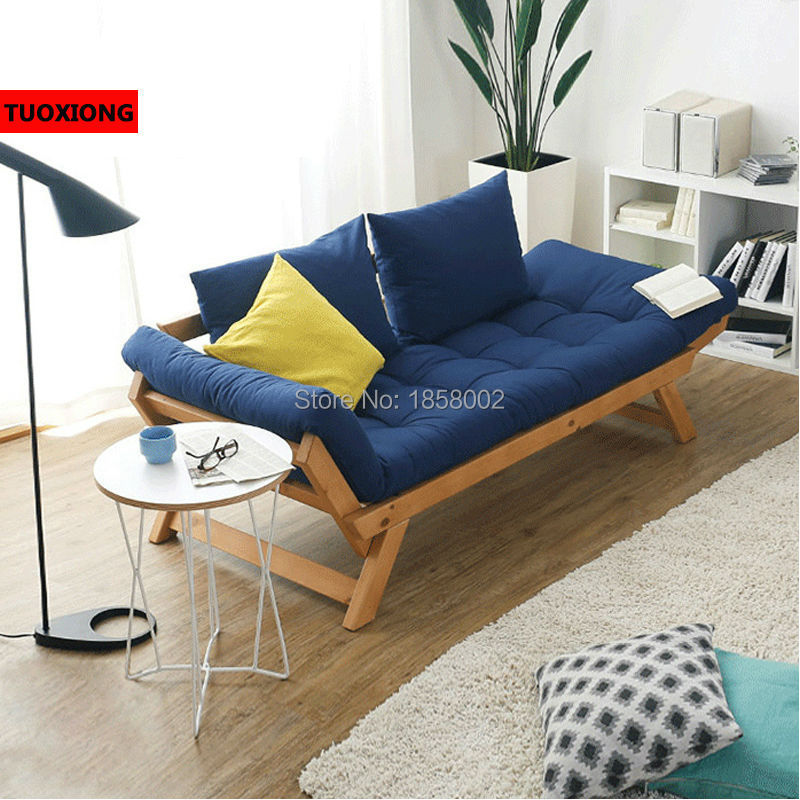 Foldable Wooden Sofa Set Brittany Balcony Leisure Sofas Folding Bed Solo Solid Wood Recliner Leather Living Room Furniture In From On