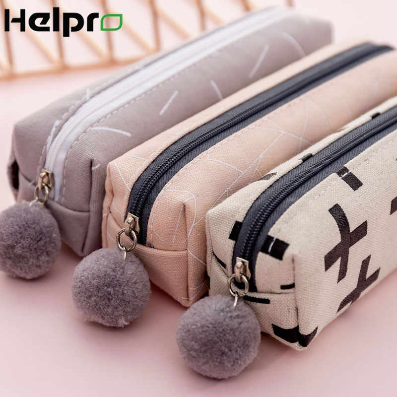 Helpro Kawaii Plush Pencil Case Cute Simple and Versatile Pen Boxs Office School Stationery Gift Supplies Canvas Material