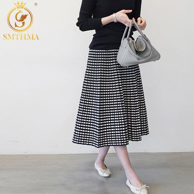 Vintage Fashion Pleated Skirt Women Elegant Knitted Skirt New Winter Office Lady High Waist A-Line Long Skirts Saia