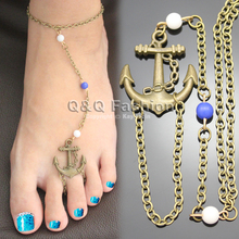 New Vintage Copper Bronze Anchor Beads Anklet Ankle Bracelet Bangle Barefoot Foot Chain Toe Sandal Beach Jewelry