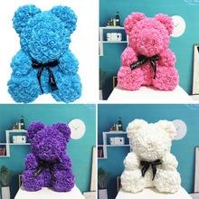 25cm Cute PE Rose Flower Teddy Bears Foam from Wedding Home Decorations Birthday Valentiness D Gift Love Bear Dolls