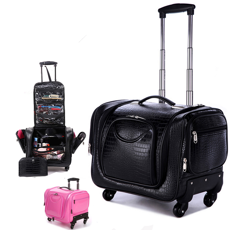 LeTrend Black Crocodile Rolling Luggage 18 Inch Multifunction PU Leather Suitcase Wheels Women Cosmetic Case Trolley Travel Bags