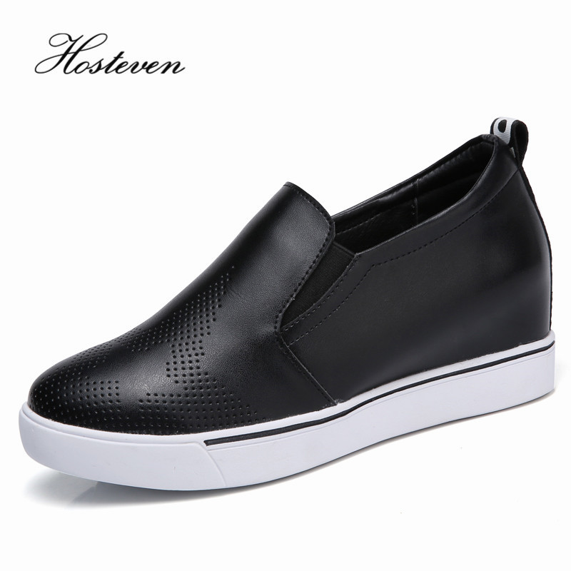цена на Hosteven Women's Shoes Genuine Leather Flats Fashion Casual Woman Increased within 6cm Loafers Moccasins Shoes Large Size 35-40
