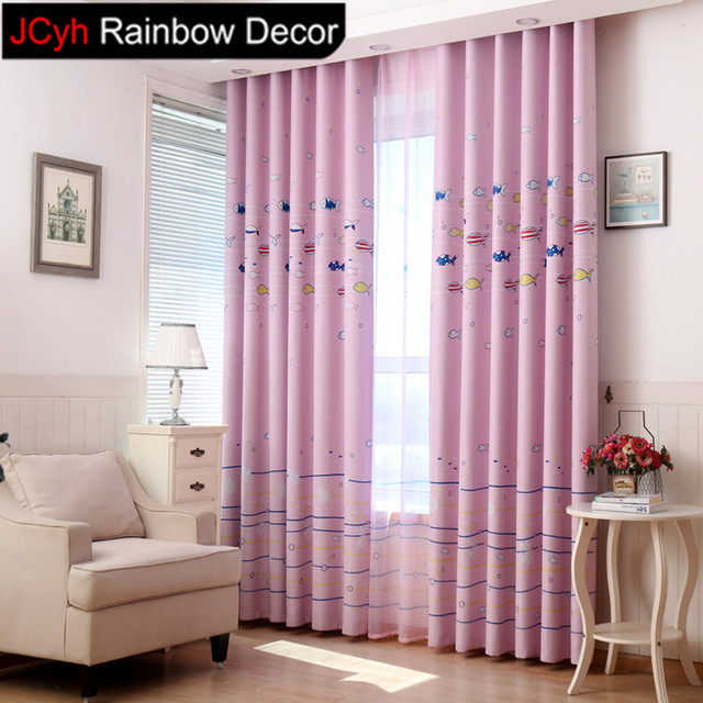 JRD Kids Cartoon Fish Blackout Curtain Sheer Window Curtains Baby Room Home Decor For Living