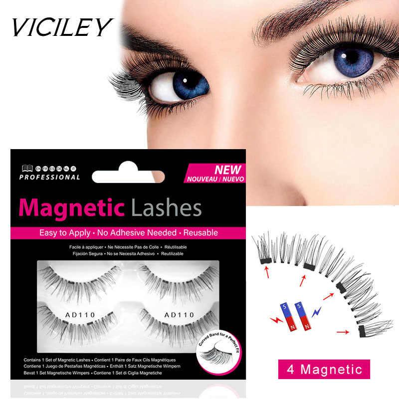 37f789539bb VICILEY 3D Magnetic Eyelashes with 4 Magnet False Eyelash Handmade Eye  Lashes 4Pcs Eye Makeup Kit