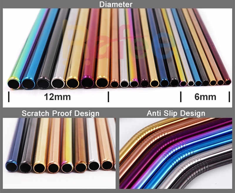 5pcs Fruit Juice Straws Reusable 304 Stainless Steel Straw Metal Drinking Rainbow Straws Silicone Cover Laser Logo Dropshipping