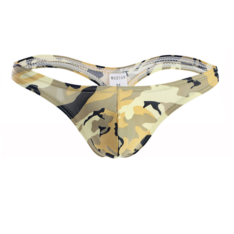 Sexy Men High Cut Briefs Ice Silk U Convex Pouch G-String Camouflage Breathable G-string Thongs Low Rise Underwear Gay Wear F8