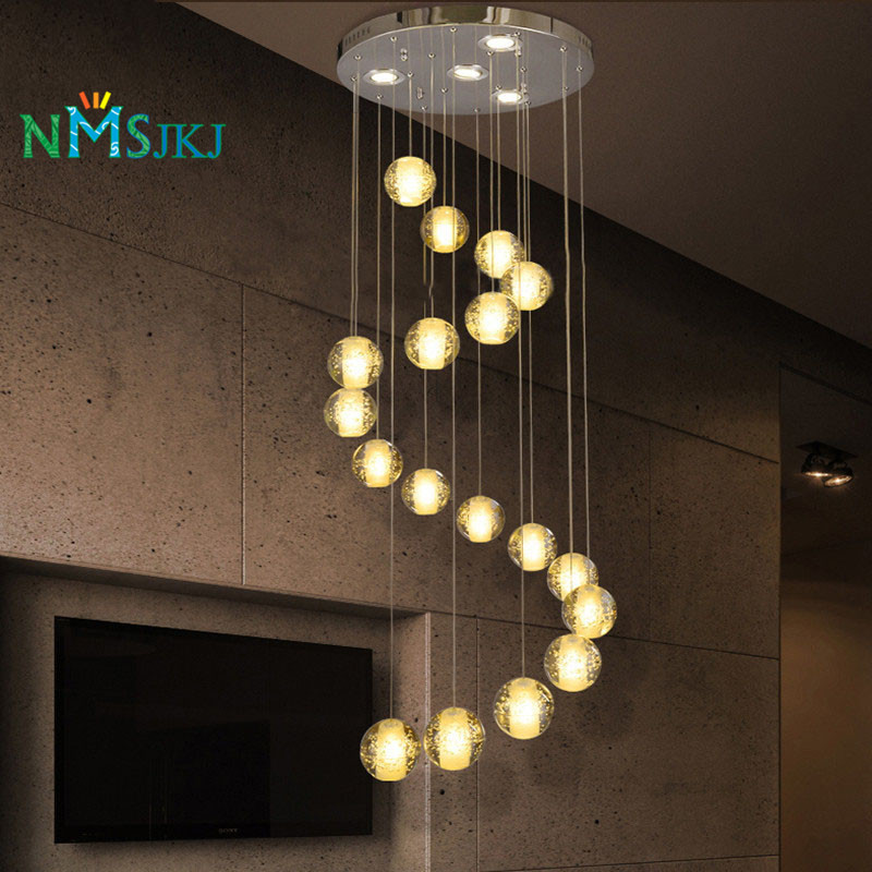18 lumi res moderne led lustre en cristal luminaire bulle balle loft cage d 39 escalier en cristal. Black Bedroom Furniture Sets. Home Design Ideas
