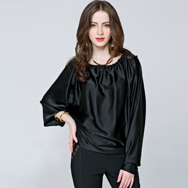 Aliexpress.com : Buy 2016 Spring plus size black satin blouse ...