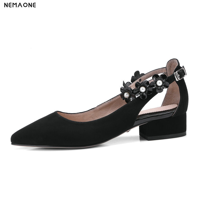 NEMAONE Genuine Leather Shoes Women Black Pointed Toe Natural Suede Ladies Shoes High Heels Wedding shoes flower women Pumps universe high heels pumps genuine leather women shoes ladies shoes natural kid suede 6 5cm thin heel party shoes for women h030