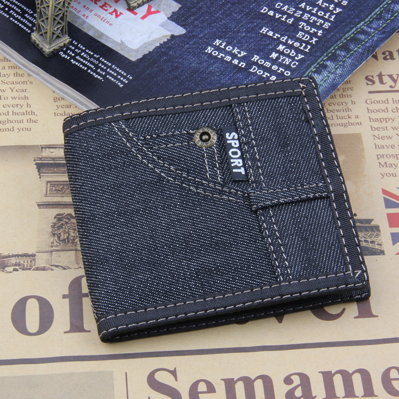 все цены на Short Wallet Brand Men Wallets Denim Design Short Small Male Purse Mens Purses Card Holder Carteras,Hot Sale Carteira Masculina