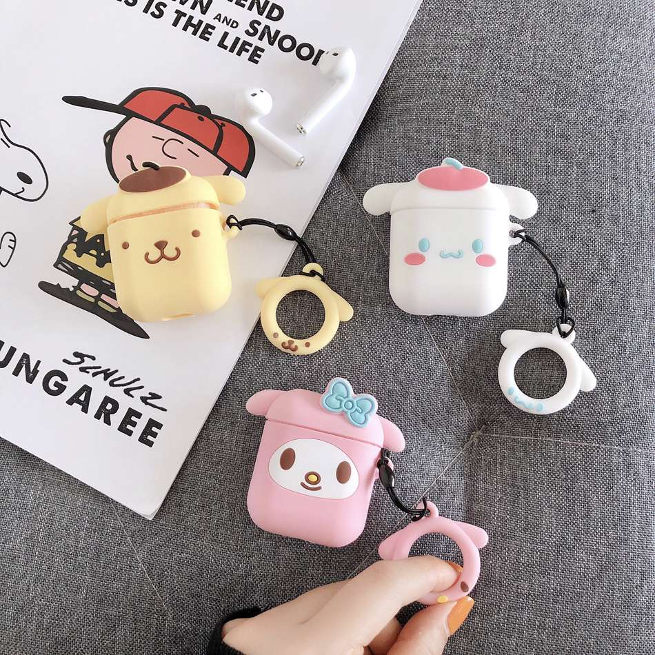 For AirPods Case Cute Cartoon Kawaii Dog Earphone Case For Airpods 2/i10/i11/i12 TWS Soft Protect Cover With Finger Ring Strap