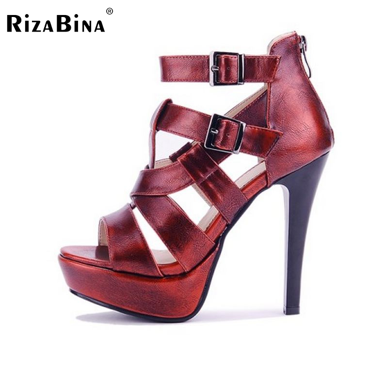 ФОТО women super high heel platform sandals sexy female zipper shoes fashion buckle strap heeld footwear shoes size 33-43 PD00099