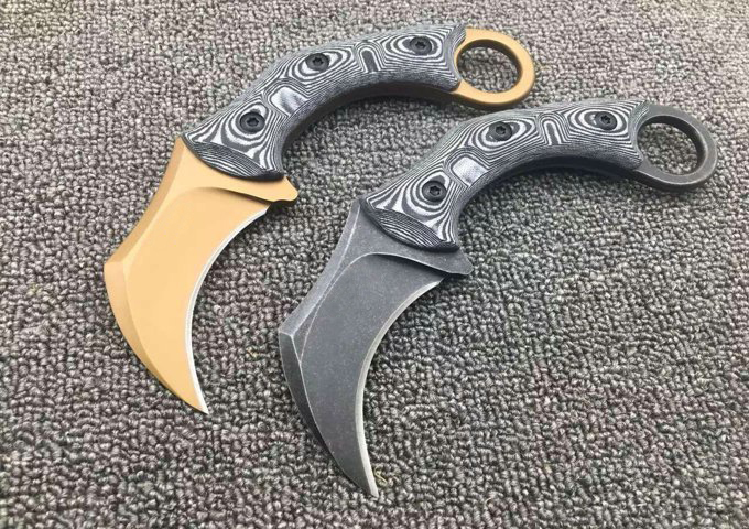 2 Options! Karambit Small Hunting Fixed Knives,D2 Blade G10 Handle Camping Tactical Knife,Survival Knife.