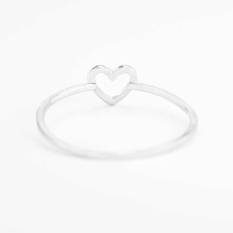קלאסי זהב כסף צבע פשוט חלול לב טבעת נישואים טבעת עבור נשים ברור אופנה 925 נחושת תכשיטי מתנת מסיבה טבעת