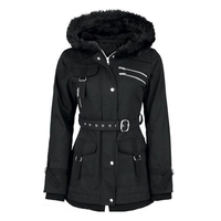 Kinikiss Women Black Jacket Warm Coat Gothic Vintage Casual Zippers Belt Fur Hooded Slim Jacket Outerwear Streetwear Tops Coat