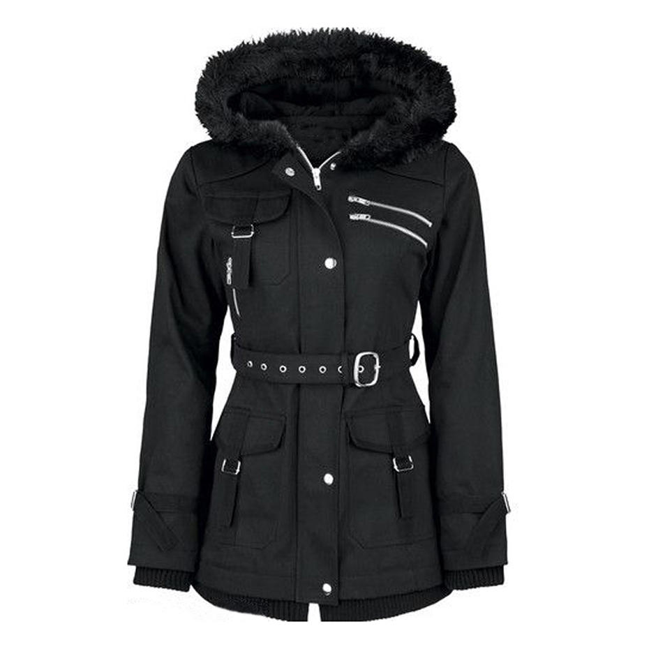Kinikiss Women Black Jacket Warm Coat Go