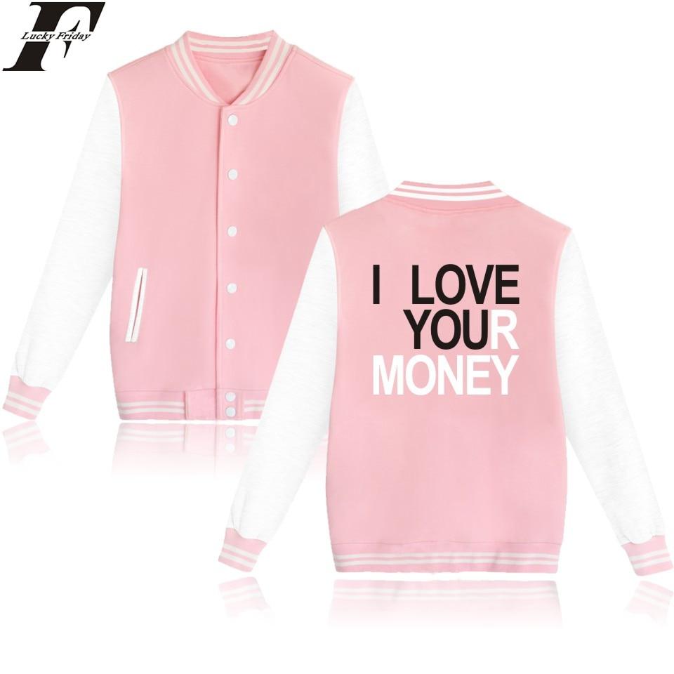 LUCKYFRIDAYF I Love You Money Baseball font b Jacket b font High Quality Ladies Elastic Coat