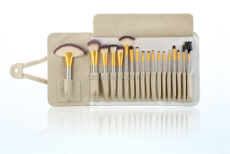 Professional 18 pcs Makeup Brushes Kit Make Up Brush Set 18pcs Cosmetics Wood Brand Makeup Toiletry Kit With beige Pouch Bag 23 pieces professional versatile portable makeup brush set cosmetics brushes kit make up maquillaje with grass green pouch bag