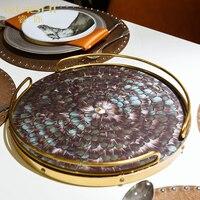 Металлический поднос Европейские предметы интерьера декоративная тарелка, украшение для хранения лоток легкий роскошный поднос
