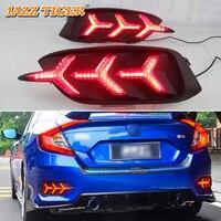 JAZZ TIGER Car LED Rear Fog Lamp Brake Light Flowing Turn Signal Light Bumper Decoration Lamp For Honda Civic 2016 2017 2018