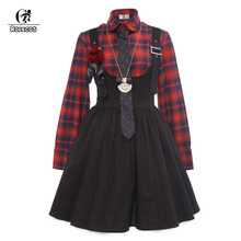 Фотография ROLECOS 2017 New Arrival Gothic Style Women Lolita Dress Plaid Shirt with Suspender Skirt Vintage Women Punk Lolita Dresses