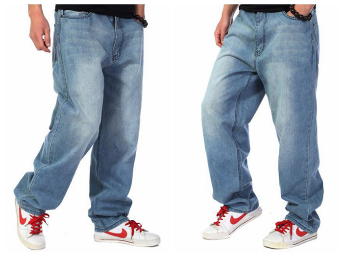 Mens Hip Hop Baggy Pants Denim Skinny Jeans Trousers ...