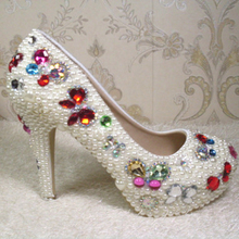 Gorgeous Ivory Bridal Dress High Heels Lady Evening Prom Crystal Shoes Wedding Anniversary Gifts Wedding Party Shoes