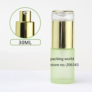 Image 3 - 30ml frosted/green/blue/white glass bottle gold pump lid for serum/lotion/emulsion/foundation/anti UV/essence/skin care