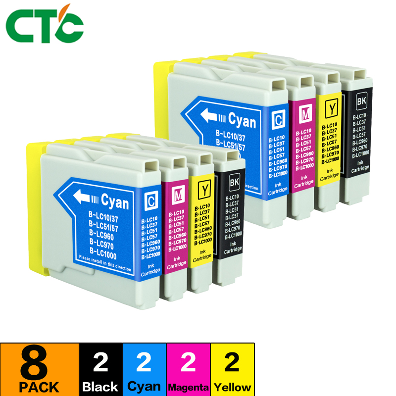 8pcs LC1000 Ink Cartridge Compatible For Brother DCP-353C 357C printer Inkjet 540CN 560CN 750CN 750CW 750WN printer Inkjet