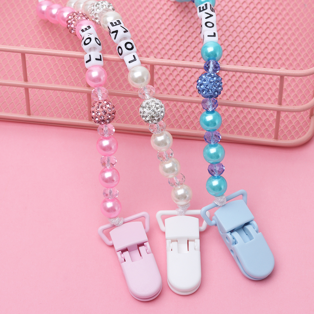 Crystal Baby Pacifier Clips Soother Chain Holder 1 Pc Anti Folder Pacifier Clip Dummy Nipple Holder Baby Pram Hook Hanging Strap(China)