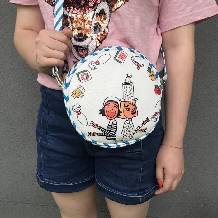 Korean harujuku lovely graffiti clowns round cross shoulder bag for student all match cartoon print striped