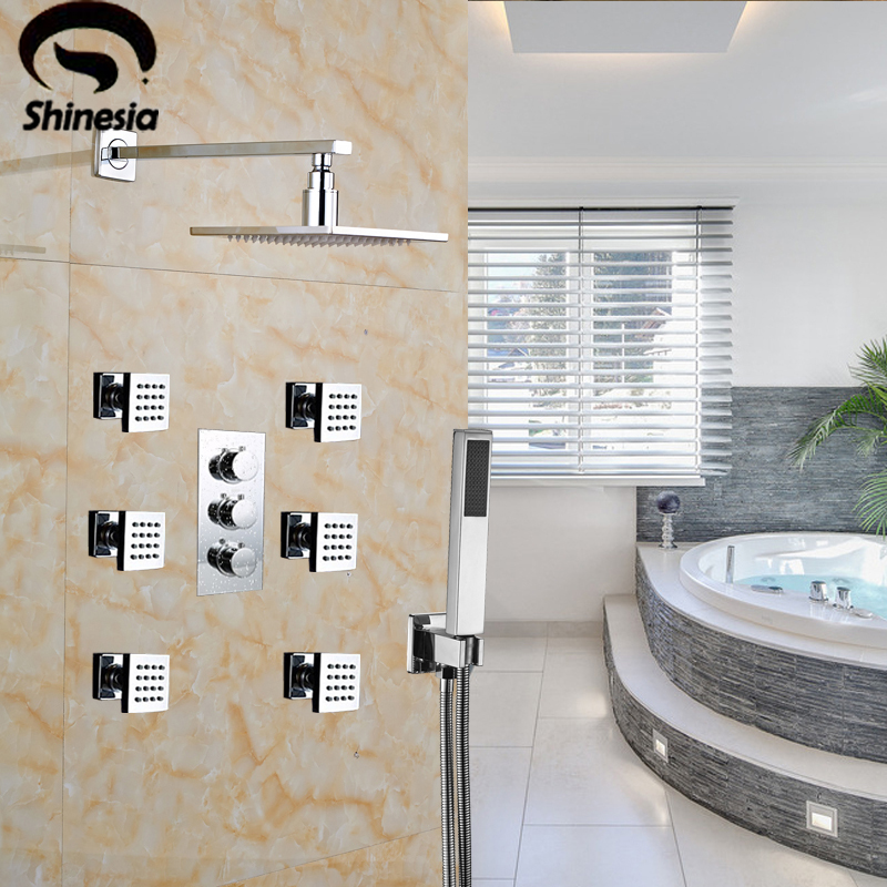 Thermostatic Shower Faucet Set W/ Spa Body Massage Spray Jets Mixer Tap Chrome Finished 12 Shower Head Wall Mount polished chrome wall mount temperature control shower faucet set brass thermostatic mixer valve with handshower