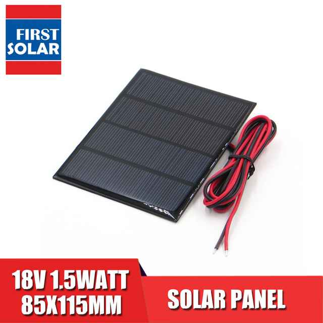 18V DC 1.5Watt Solar Panel Polycrystalline Silicon DIY 12V Battery Charger Module Mini Solar Cell wire toy