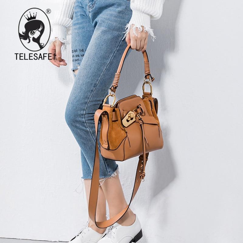 Helena fall 2017 new leather fringed Shoulder Handbag bucket bag woven belt buckle Vintage handbag