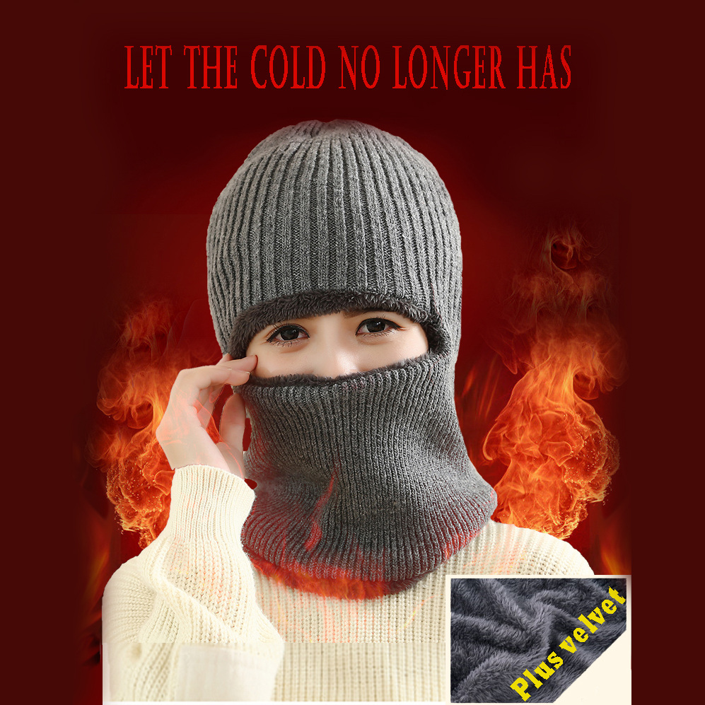 62267652 Latest Hot Selling multi functional knit cap mask winter wool Hats adult  men and women beanies neck warmer