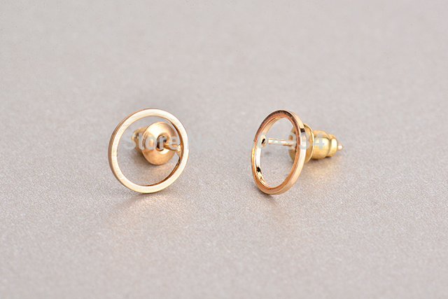 Jisensp Women Fashion Br Hollow Round Stud Earrings Tiny Circle Shape Elegant Simple Cute Earring