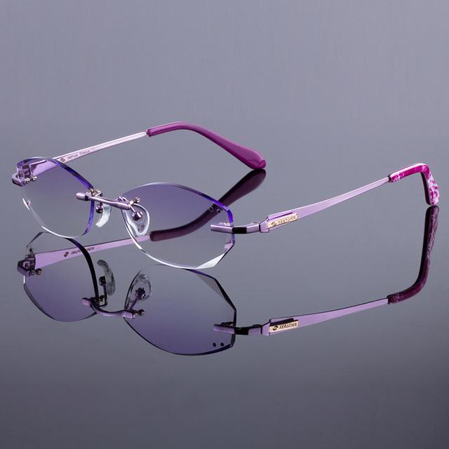 Novas mulheres marca titanium liga silhueta óculos sem aro prescrição óptica quadro original óculos de armação oculos de sol grau