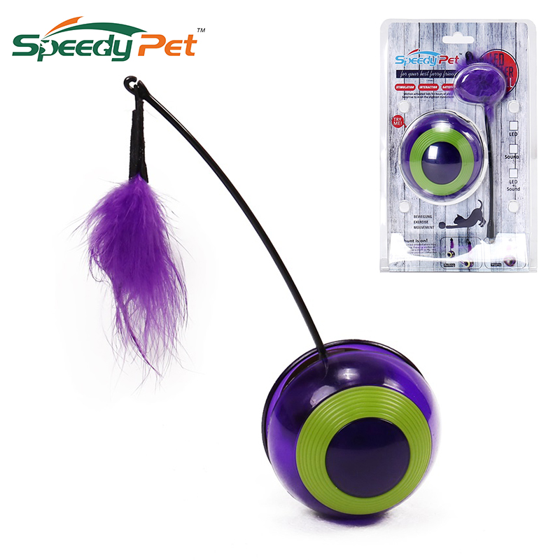 Cat Interactive tumbler Ball Degree Self Rotating Ball Automatic LED Light Entertainment Exercise Cat Toy With Feather Singsing