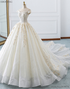 Image 3 - Amazing Ball Gown Wedding Dress Boat Neck Short Sleeves Vestidos De Novia Chapel Train Lace Up Plus Size With Embroidey