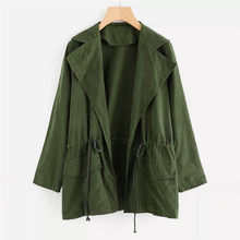 Army Green Women Long Sleeve Jacket Windbreaker Parka Pockets Cardigan Coat Autumn Outwear Women Clothes 16#45(China)