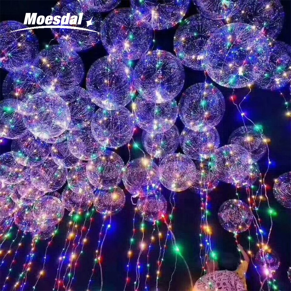 Moesdal 18/24 Inch Luminous 3MMoesdal LED Balloon String Lights Bubble Helium Balloons Kids Toy Wedding Party Xmas Decoration yy 18 decoration led luminous hair slice extension wig for party transparent 2xcr1220