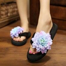 Women 2016 Bohemia Flowers Style Woman Sandale Beach Flip Flops Summer Platform Sandals Big Size 35-42 Slip- Resistant Slippers