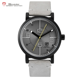 Bahamas Saw SHARK Sport Watch Grey Relogio Masculino Simple 3D Special Long Second Hand Men Male Quartz Leather Band Clock/SH571
