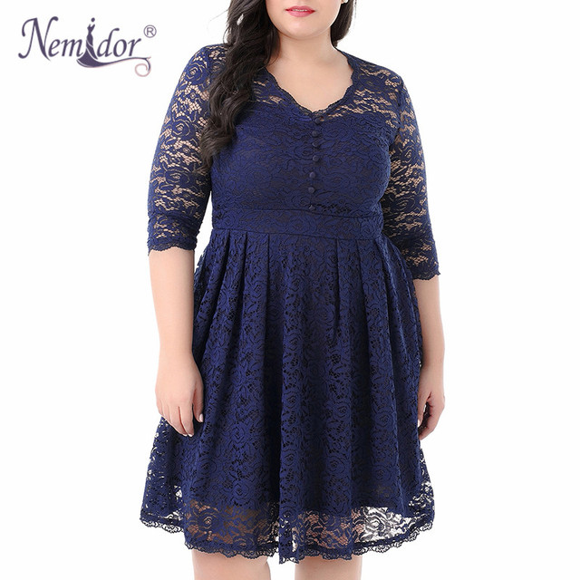Women Elegant 3/4 Sleeve Midi Cocktail A-line Dress Sexy V-neck Party Plus Size 8XL 9XL Vintage Swing Lace Dress 2